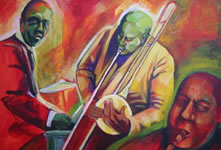 """Trombone""   18 x 24 inches  acrylic on canvas  2007"