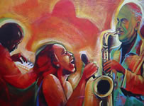 """Singer Sax""  18 x 24 inches  acrylic on canvas  2007"