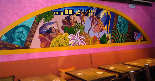 """Alegria Nocturna"", acrylic on concrete, 3' x 15', 2008<br>for the main dining area of Barrio Restaurant"